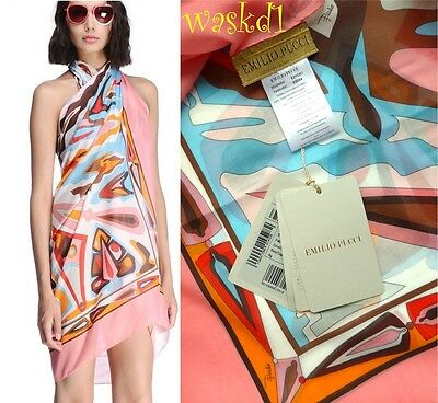 EMILIO PUCCI large coral & yellow LANCE cotton Batiste PAREO shawl NWT Authentic
