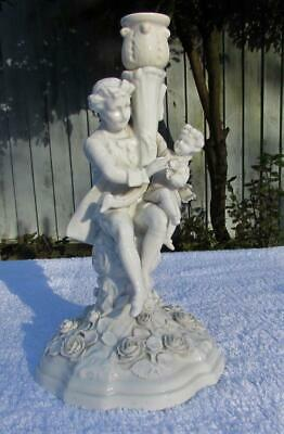 BEAUTIFUL ANTIQUE 19thC SITZENDORF DRESDEN FIGURAL CANDLESTICK - BLANC DE CHINE