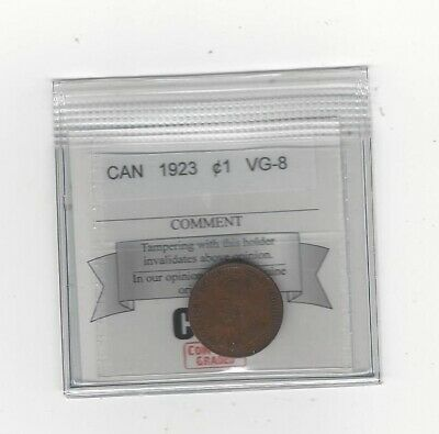 **1923**, Coin Mart Graded Canadian, Small One Cent, **VG-8**
