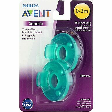 4 Pack Phillips Avent Soothie Pacifier, 0-3 months, Green, 2 Ct