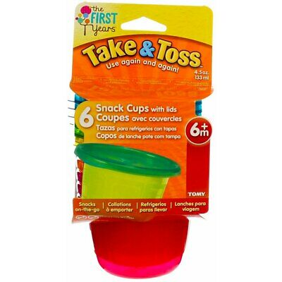4 Pack The First Years Take & Toss Snack Cups, Assorted Colors, 4.5 oz, 6 Ct