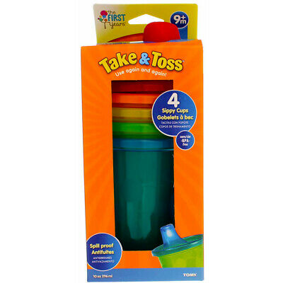 4 Pack The First Years Take & Toss Sippy Cups, Assorted Colors, 10 oz, 4 Ct