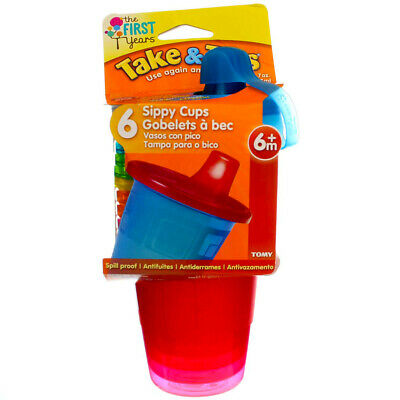 4 Pack The First Years Take & Toss Sippy Cups, Assorted Colors, 7 oz, 6 Ct