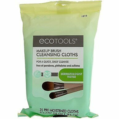 4 Pack Ecotools Makeup Brush Cleansing Cloths, 25 Ct