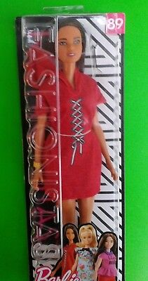 New Boxed Barbie Fashionistas Doll No.89 Girl in red dress FJF49