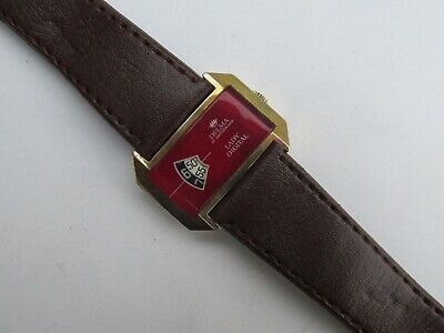 Vintage DELMA JUMP HOUR DIGITAL Hand Winding RED Dial Watch Swiss