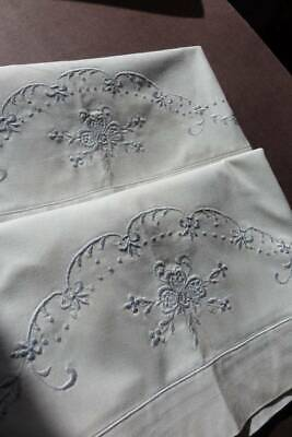 Pair vintage UNUSED white Oxford pillowcases  pale blue whipcord & embroidery