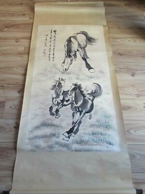 """78"""" by 35"""" Xu Beihong 1895-1953 Chinese Watercolour Horse - Signed"""