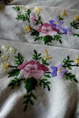 """Vintage large UNUSED tablecloth with hand embroidery Roses & lace -  82"""" x 56"""""""