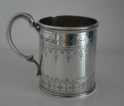 GOOD QUALITY ANTIQUE VICTORIAN ENGLISH STERLING SILVER MUG or CUP, LONDON c1870