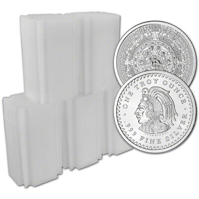 100 pc 1 oz Golden State Mint Silver Round Aztec Calendar 999 Fine 5 Tubes of 20