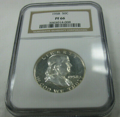 1958   50c    Franklin Proof Silver Half Dollar NGC PF66