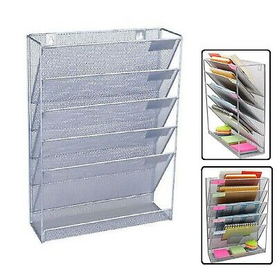 A4 Wall Mounted Holder File Document Organizer Mesh Office Paper Rack Storage