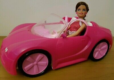Convertible Car With Doll For Toy Dolls Compatible Barbie Pink Sports Play Set