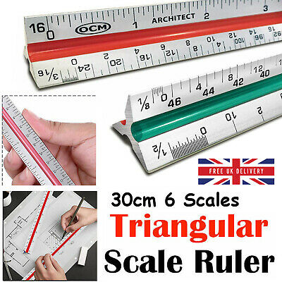 Triangular Scale Ruler 30CM 6 Scales Metric For Professional Architects Engineer
