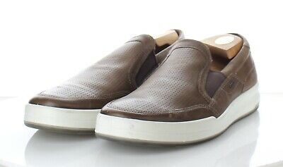 73523f69 335 NEW ECCO Jack Cocoa Brown Leather Perforated Slip On Sneaker Men's Sz  44 M