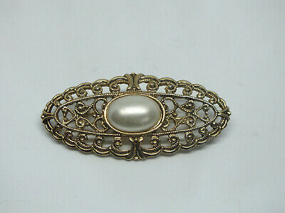 "Beautiful Brooch Pin Gold Tone Filigree Faux Pearl Cab 2 x 7/8"" NICE"