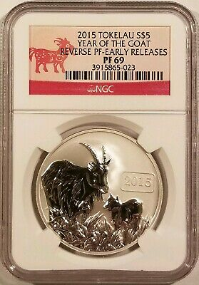 2015 Tokelau Year of the Goat .999 Fine Silver NGC PF69 Reverse Proof - ER