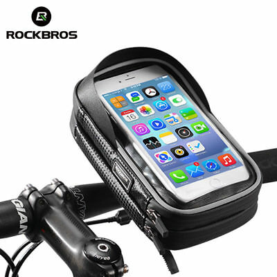 RockBros Bicycle Handlebar Phone Bag Rainproof TPU Touch Screen Black 6.0 Inch