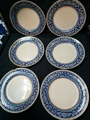 Antique English Blueflow Booths Silicone China Made In England Jacobean Lot Of 6