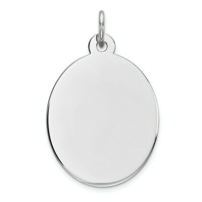 Sterling Silver Rhod-plate Eng. Oval Polish Front/Satin Back Disc Charm Pendant