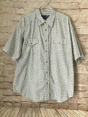 59fe3b2b GUESS MENS WESTERN Shirt Sz XL Pearl Snap Sawtooth Rockabilly Floral ...