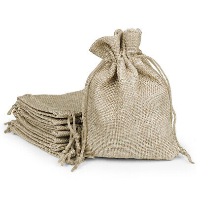 Natural Linen Burlap Bags with Jute Drawstring for Gift Bags Wedding Party Favor