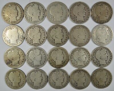 Lot of 20 Collectible Silver Barber Half Dollars $10 Face Value (b518.150d)