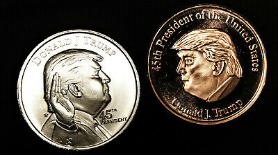DONAL TRUMP 1 oz. silver 45th President coin plus Trump 45th .999 Copper Coin
