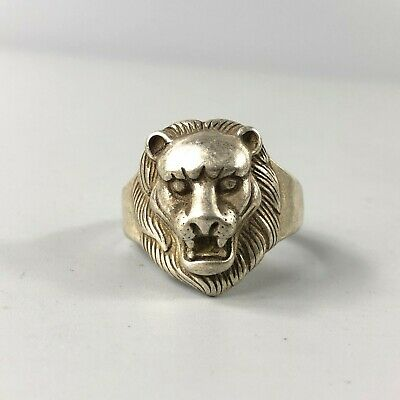 Chinese Collectible Old Antique Tibet Silver Handwork Lion Amulet No.10 Ring