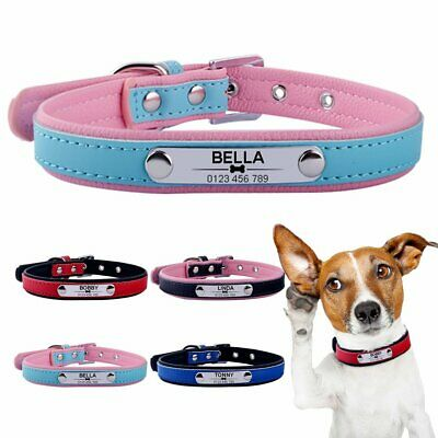 Leather Personalised Dog Collar Custom Engraved Name ID Tag Pet Cat Puppy XS M L