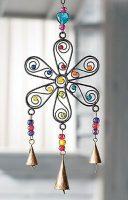 NAMASTE FairTrade Traditional Flower Metal Windchime with Copper Bells