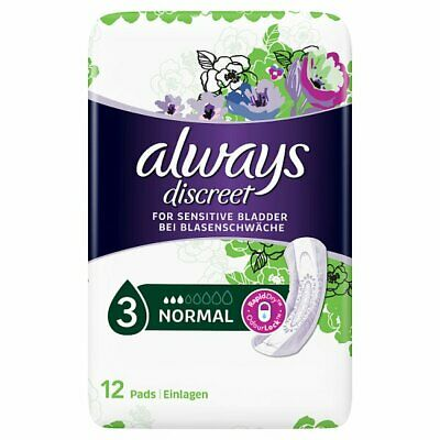 Always Discreet Incontinence Pads Normal For Sensitive Bladder 12 x 4 (48 Pads)