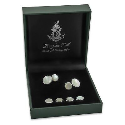 NEW - Sterling Silver - Mother of Pearl Shirt Studs & Cufflinks - Boxed