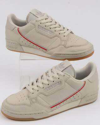 adidas Continental 80 Trainers in Clear Brown & Scarlet (Off White, Rascal)