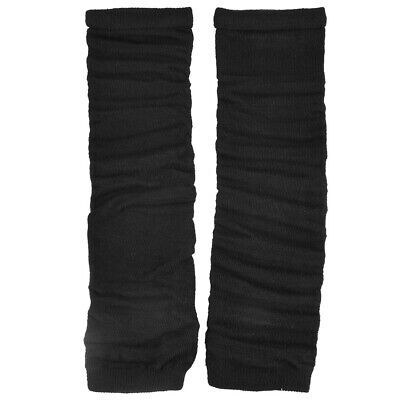Ladies Winter Stretchy Sleeve Knitted Arm Warmer Fingerless Gloves Black Pair