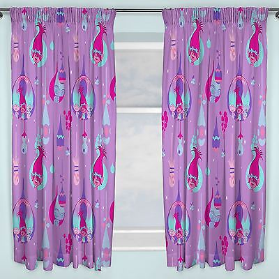 "Trolls Curtains 66"" X 72"" Childrens Bedroom Curtains Purple Poppy Official New"