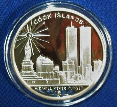 2008 Cook Islands September 11th Commemorative One Oz Pure Silver Dollar