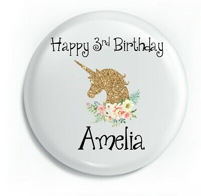 Personalised Unicorn Gold Happy Birthday Unique Metal Pin Badge
