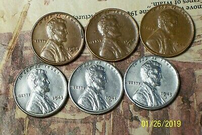 "1943/44--P,D,S @  *6* ""Very High-End"" Lincoln Pennys"""