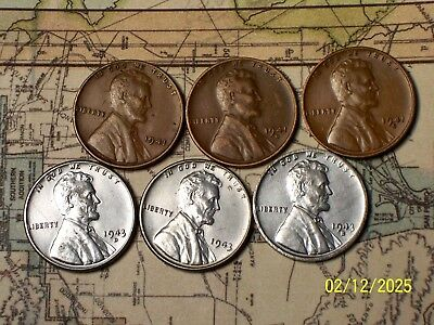 """1943//44--P,D and S @ /""""Very High-End/"""" Lincoln Pennys/"""" 6"""