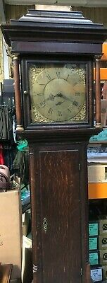 Tho Furnival Sheffield 19Th Century Oak 30 Hour Brass Dial Grandfather Clock