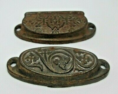 Vintage Lot of 2 Bin Pull Drawer Cup Pulls Handles Cupboard Cabinet Apothecary