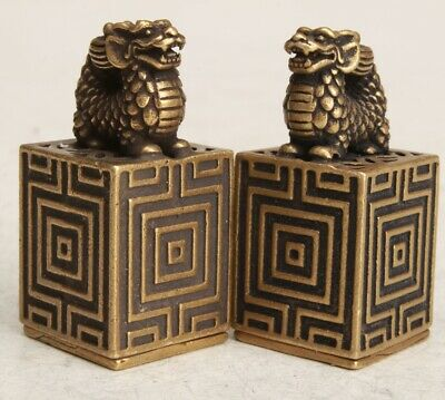 2 Rare China Bronze Handmade Carving Dragon Statue Figurine Seal Old Collection