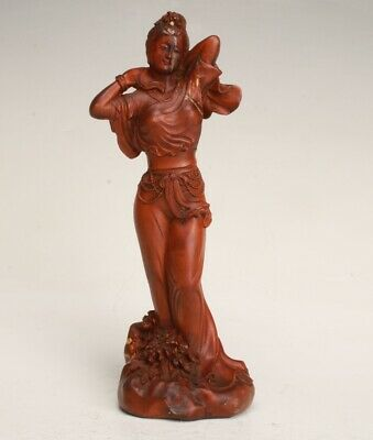 Precious Chinese Pure Boxwood Handmade Carving Belle Statue Old Collection