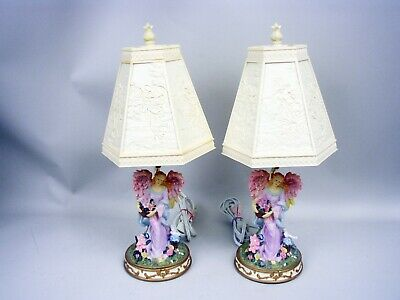 Pair Resin Angel Accent Lamps With Original Shades
