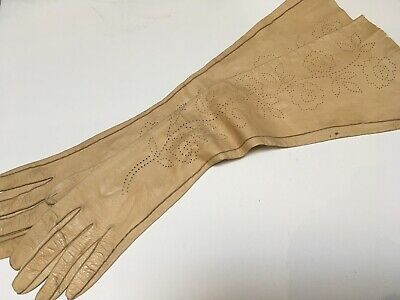 Antique 1920s Punched Hole Floral Beige Kid Skin Opera Evening Gloves 7.25 size