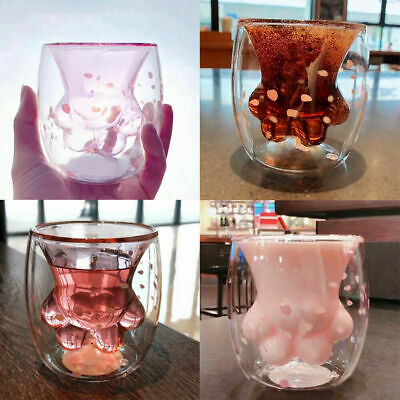 2019 Sakura 6oz Pink Starbucks Cat's Paw Double Wall Glass Mug Cup In Stock gift