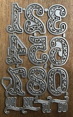 Metal Cutting Dies - Large FLOURISH NUMBERS 0-9 st nd rd th (006)
