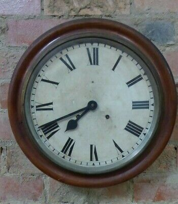 Antique Australian Cedar Station Clock School House Wall Clock